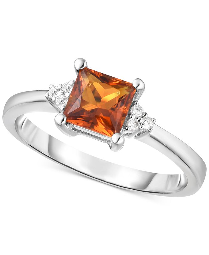 Macy's - Amethyst (3/4 ct. t.w.) & Diamond Accent Ring in 14k White Gold (Also Available in Citrine)