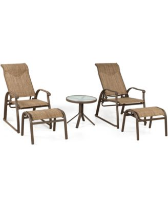 Oasis Outdoor 5 Piece Lounge Set: 2 Adjustable Chairs, 2 Ottomans And 1 End
