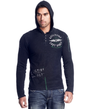 Affliction Hoodie, Bulk Head Hooded Henley