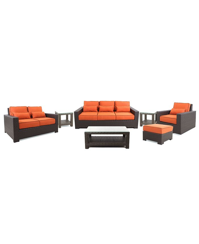 Furniture - San Lucia Outdoor 7 Piece Seating Set: 1 Sofa, 1 Loveseat, 1 Swivel Chair, 1 Ottoman, 1 Coffee Table and 2 End Tables