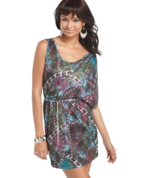 Apple Bottoms Dress, Short Sleeve Chain Print Belted Batwing