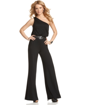 GUESS? Jumpsuit, Sleeveless One Shoulder Belted Wide Leg