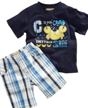 Kids Headquaters Baby Set, Baby Boys Crab Tee and Plaid Shorts