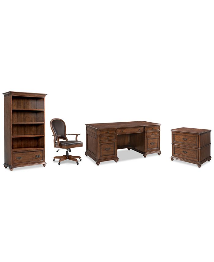 Furniture - Clinton Hill Cherry Home Office, 4-Pc. Set (Executive Desk, Lateral File Cabinet, Open Bookcase & Leather Desk Chair)