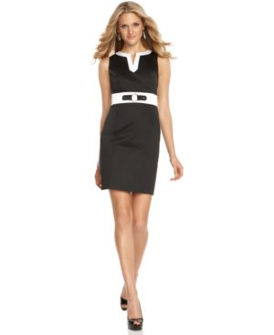 AGB Dress, Sleeveless Split Neck Colorblock Sheath