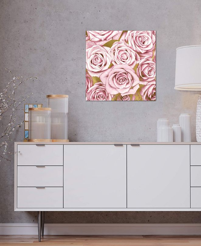 """iCanvas """"Pink Roses On Gold"""" by Kate Bennett Gallery-Wrapped Canvas Print"""