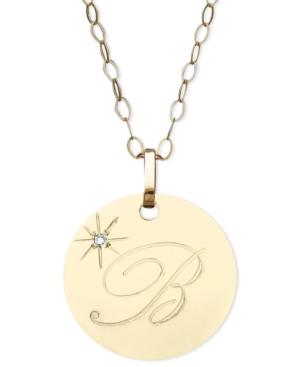 14k Gold Necklace, B Initial Diamond Accent Disc Pendant