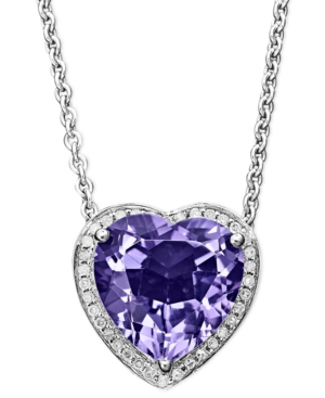 Sterling Silver Necklace, Amethyst (5 ct. t.w.) and Diamond Accent Heart Pendant