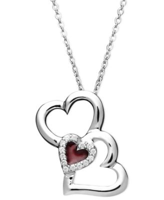 Treasured hearts diamond diamond three heart pendant necklace in treasured hearts diamond heart pendant sterling silver diamond 110 ct tw mozeypictures Images