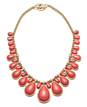 Lauren by Ralph Lauren Necklace, Gold Tone Reconstituted Coral Frontal Necklace
