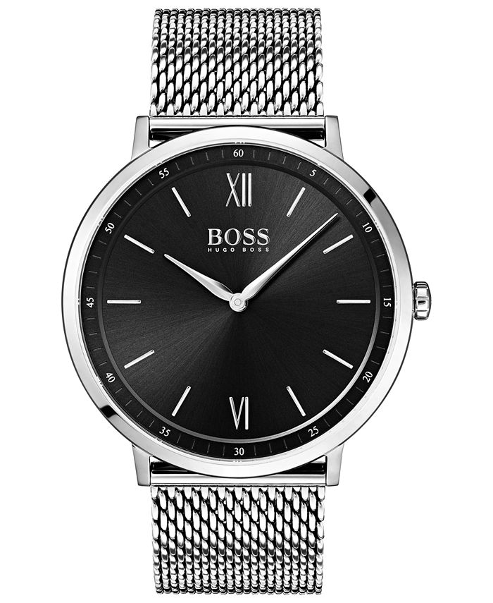 BOSS - Men's Essential Ultra Slim Stainless Steel Mesh Bracelet Watch 40mm