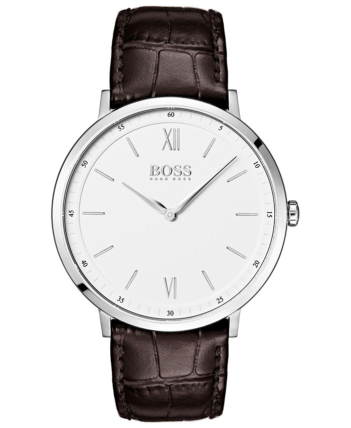BOSS - Men's Essential Ultra Slim Brown Leather Strap Watch 40mm