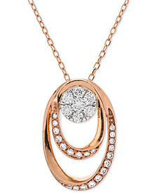 Diamond Double Oval Cluster Adjustable Pendant Necklace (1/4 ct. t.w.) in 14k Rose & White Gold
