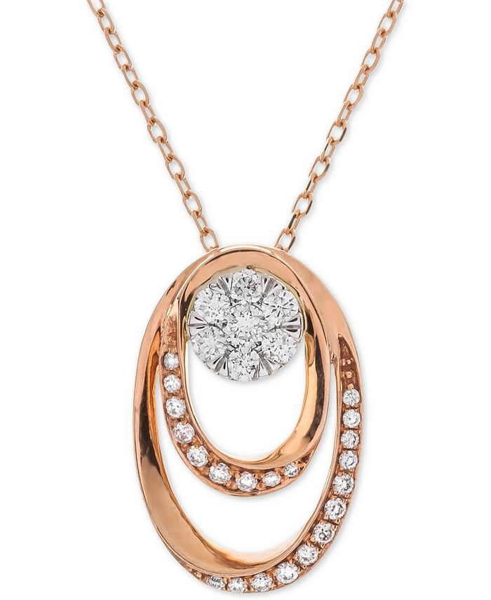 Macy's - Diamond Double Oval Cluster Adjustable Pendant Necklace (1/4 ct. t.w.) in 14k Rose & White Gold