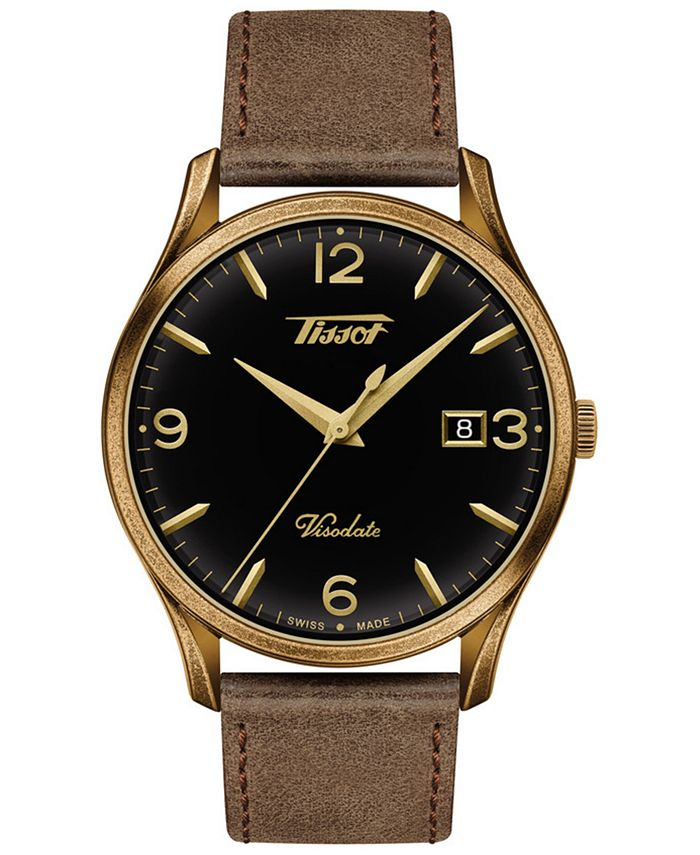 Tissot - Men's Swiss Heritage Visodate Brown Leather Strap Watch 40mm
