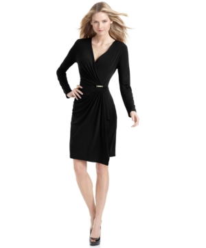 MICHAEL Michael Kors Dress, V Neck Long Sleeves Ruched Hardware Wrap A Line