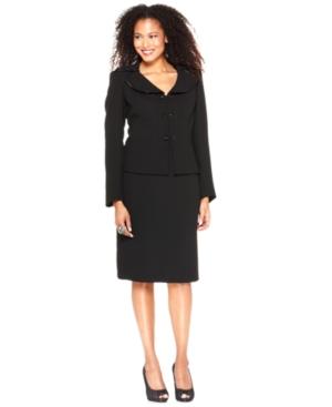 Le Suit Suit, Beaded Double Button Jacket & Skirt