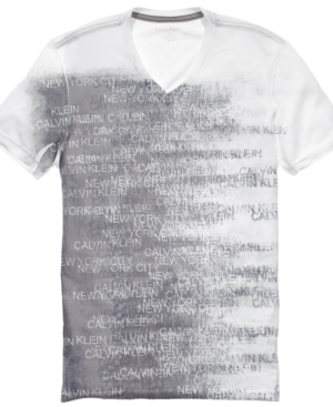 Calvin Klein Shirt, Slim Fit V Neck Graphic T Shirt