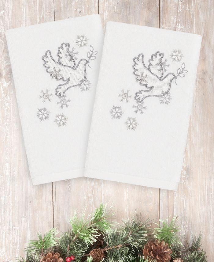 Linum Home - Christmas Dove 100% Turkish Cotton 2-Pc. Hand Towel Set