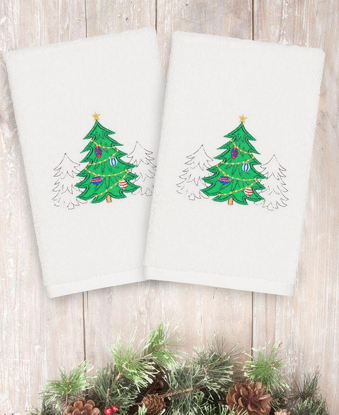 Linum Home - Christmas Three Trees 100% Turkish Cotton 2-Pc. Hand Towel Set