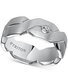 Triton Diamond Accent Geometric Band in White Tungsten Carbide