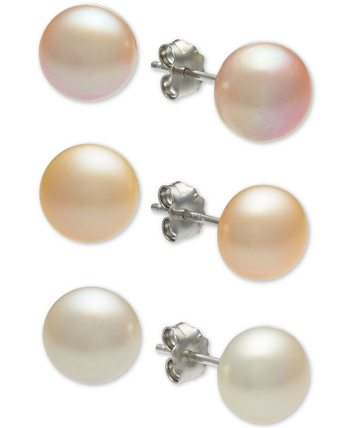 Macy's - 3-Pc. Set White, Pink & Peach Cultured Freshwater Button Pearl (8mm) Stud Earrings in Sterling Silver
