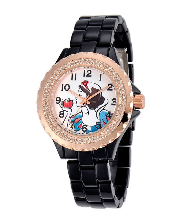 ewatchfactory Disney Snow White Women's Black and Rosegold Enamel Sparkle Alloy Watch