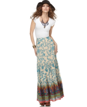Free People Skirt, Floral Paisley Printed Tiered A Line Maxi