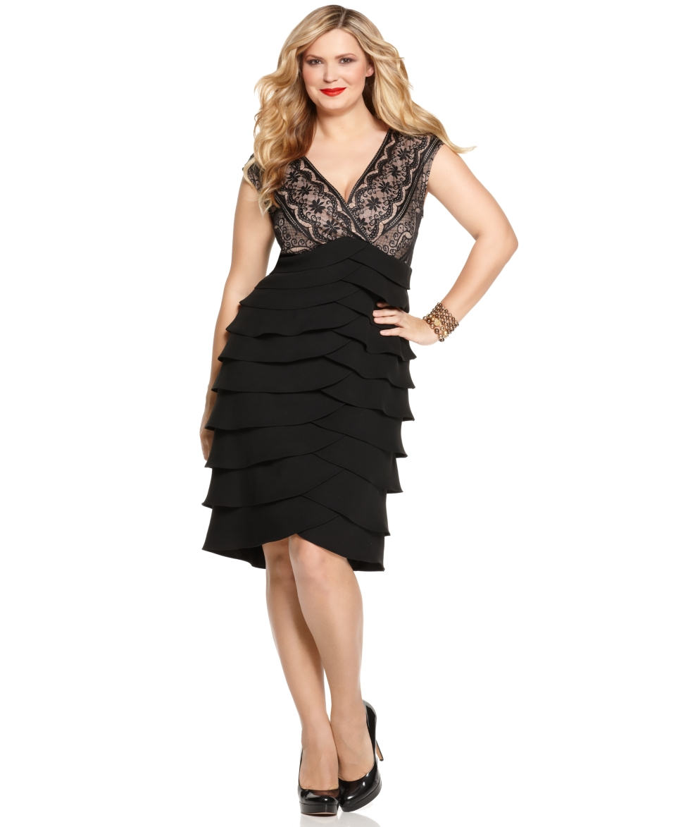 Jessica Howard Plus Size Lace Tiered Dress   Dresses   Plus Sizes