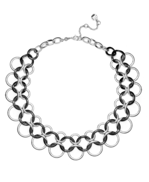 Monet Necklace, Silver and Hematite Tone Link Drama Necklace