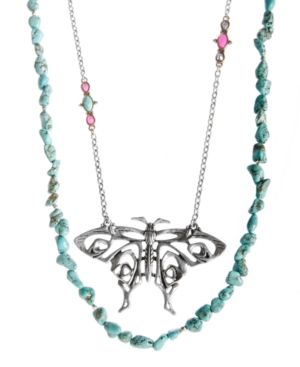 Lucky Brand Necklace, Two Row Butterfly and Reconstituted Turquoise Necklace