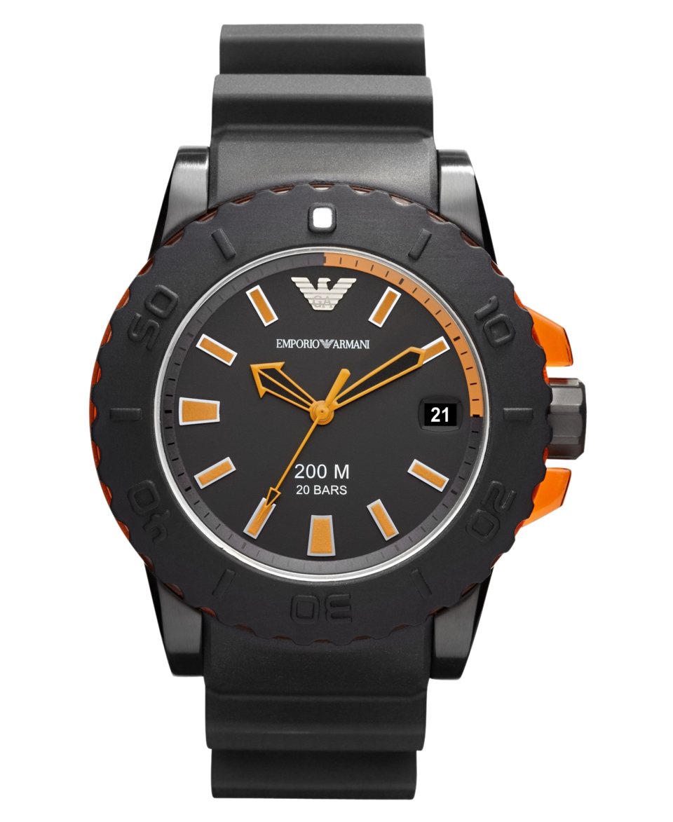 Emporio Armani Watch, Mens Black Rubber Strap 46mm AR5969   Watches   Jewelry & Watches
