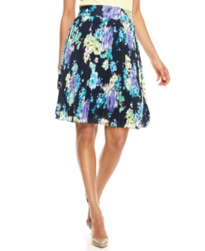 Charter Club Skirt, Pleated Floral Print A-Line