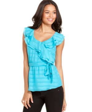 BCX Top, Sleeveless Striped Ruffled Belted