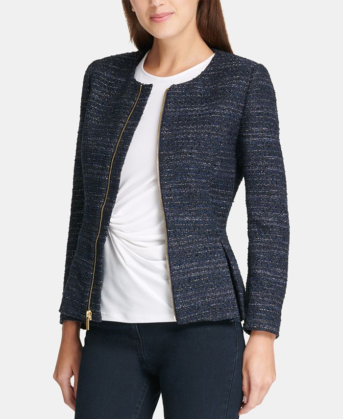 DKNY - Tweed Zip-Up Peplum Jacket