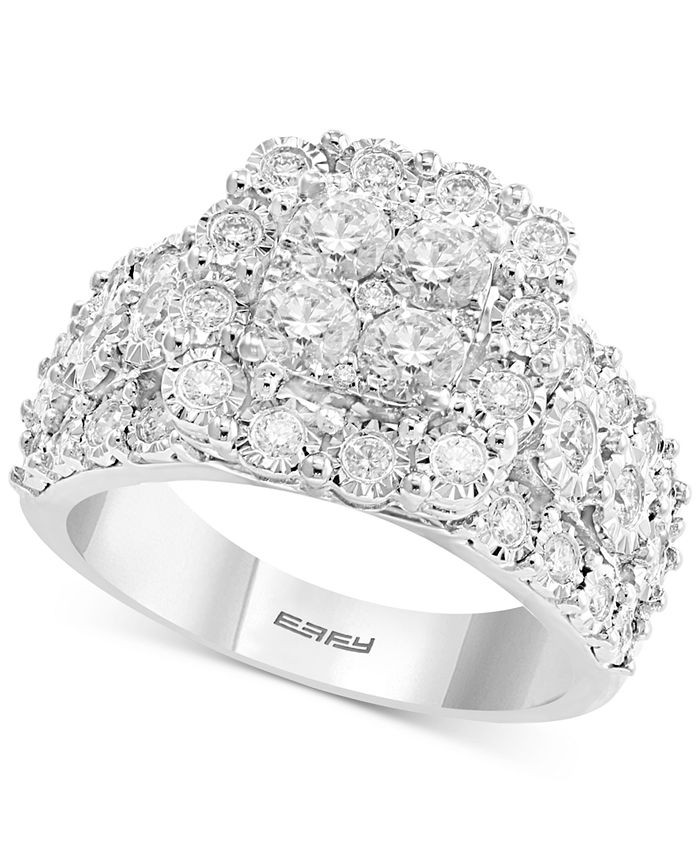 EFFY Collection - Diamond Cluster Ring (1 ct. t.w.) in 14k White Gold