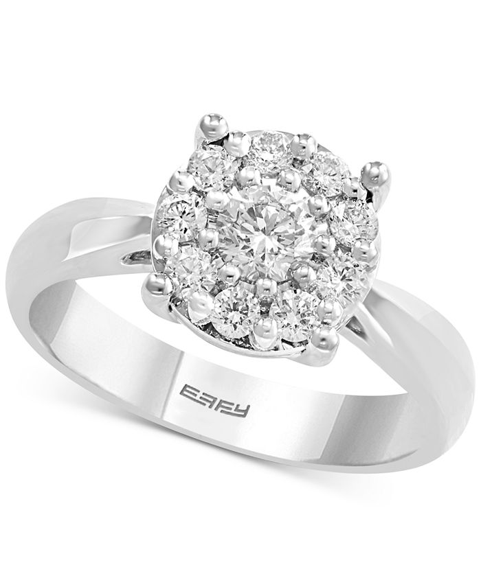 EFFY Collection - Diamond Cluster Engagement Ring (5/8 ct. t.w.) in 14k White Gold