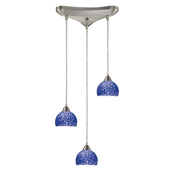ELK Lighting Cira 3-Light Pendants in Satin Nickel and Pebbled Blue Glass