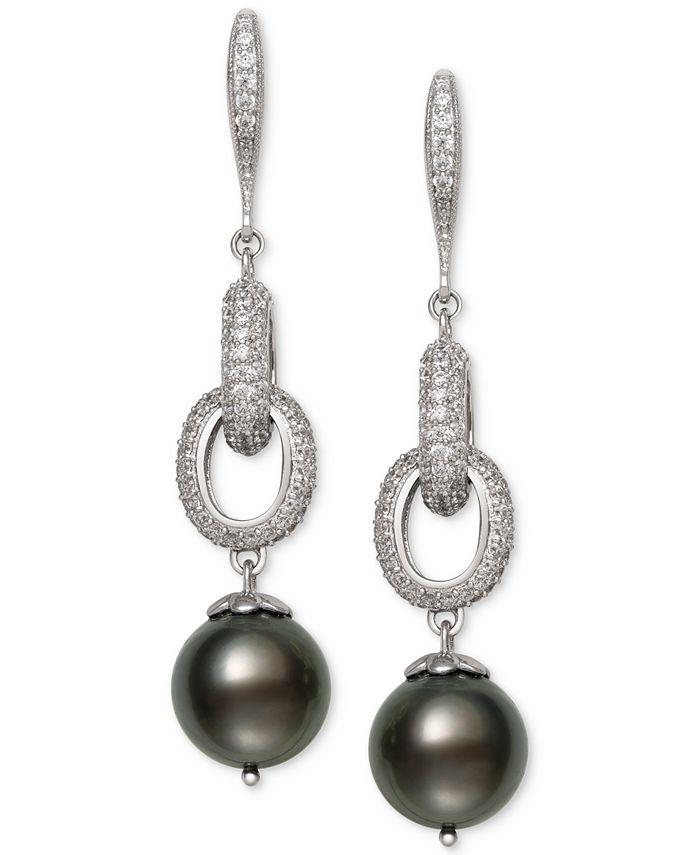 Belle de Mer - Cultured Black Tahitian Pearl (10mm) & Cubic Zirconia Linear Drop Earrings in Sterling Silver