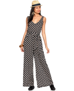 Bar III Jumpsuit, Sleeveless V Neck Dot Printed Tie Relaxed Wide Leg