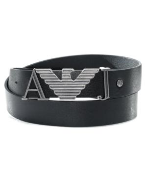 Armani Jeans Belt, Black Logo Belt