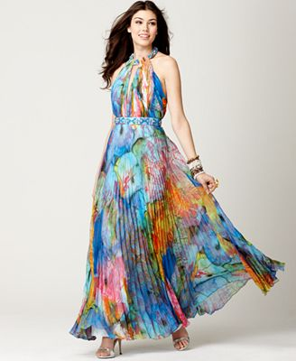 Cache Dress, Sleeveless Beaded Floral Printed Pleated Halter