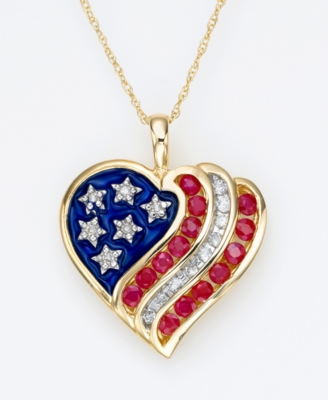 14k Gold Ruby (3/4 ct. t.w.) & Diamond (1/7 ct. t.w.) Flag Heart Pendant