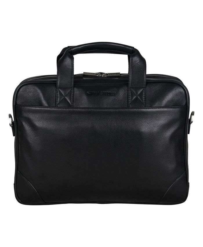 Ben Sherman - Premium Karino Leather Double Compartment Top Zip 15.0 Computer Case / Business Portfolio (RFID)