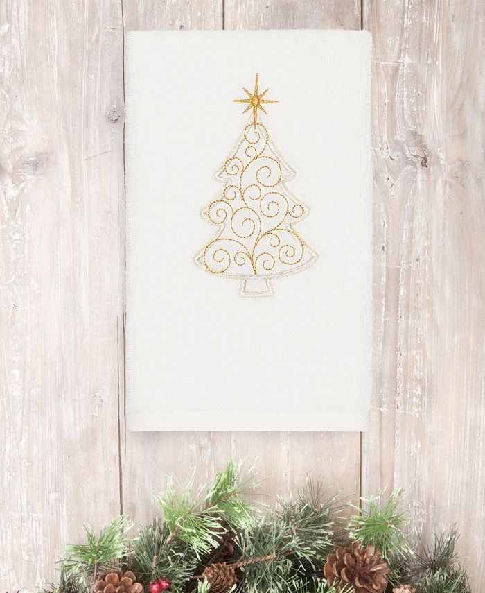 Linum Home - Textiles Christmas Scroll Tree - Embroidered Luxury 100% Turkish Cotton Hand Towel