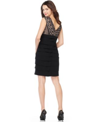 Jessica Howard Petite Dress, Sleeveless Lace Tiered Cocktail Dress ...