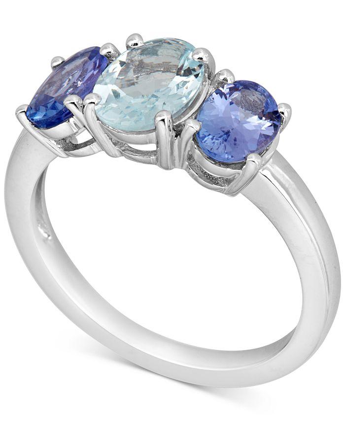 Macy's - Aquamarine (1 ct. t.w.) & Tanzanite (1-1/2 ct. t.w.) Ring in 10k White Gold