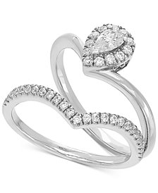 "Diamond ""V"" Bridal Set (1/2 ct. t.w.) in 14k White Gold"