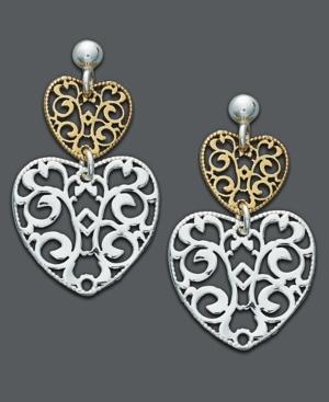 Giani Bernini Sterling Silver and 24k Gold Over Sterling Silver Earrings, Filigree Double Heart Drop Earrings