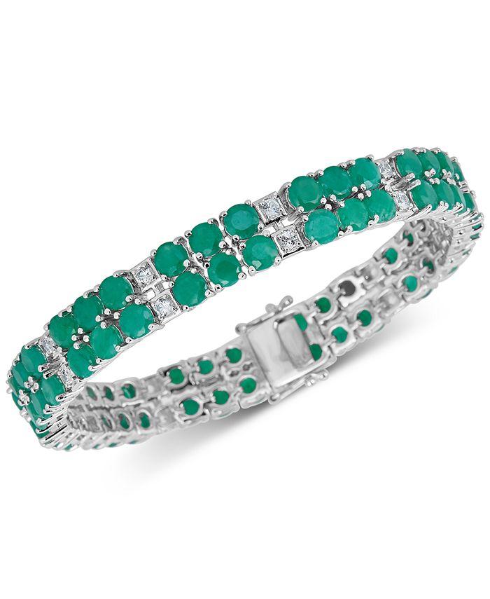 Macy's - Emerald (18 ct. t.w.) & White Topaz ( 2 ct. t.w.) Tennis Bracelet in Sterling Silver (Also in Tanzanite & Sapphire)